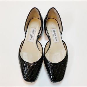 Jimmy Choo Black Quilted D'Orsay Leather Flats 36